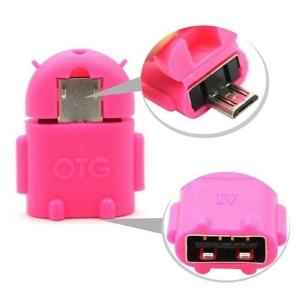 Adaptador OTG Robot Micro USB Android GO Tablet Movil Telefono Smartphone Rosa