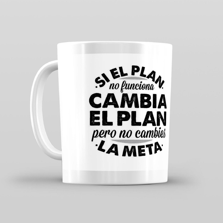Taza De Desayuno Blanca Gran Calidad Modelo Dibujos Si El Plan No Funciona Frases