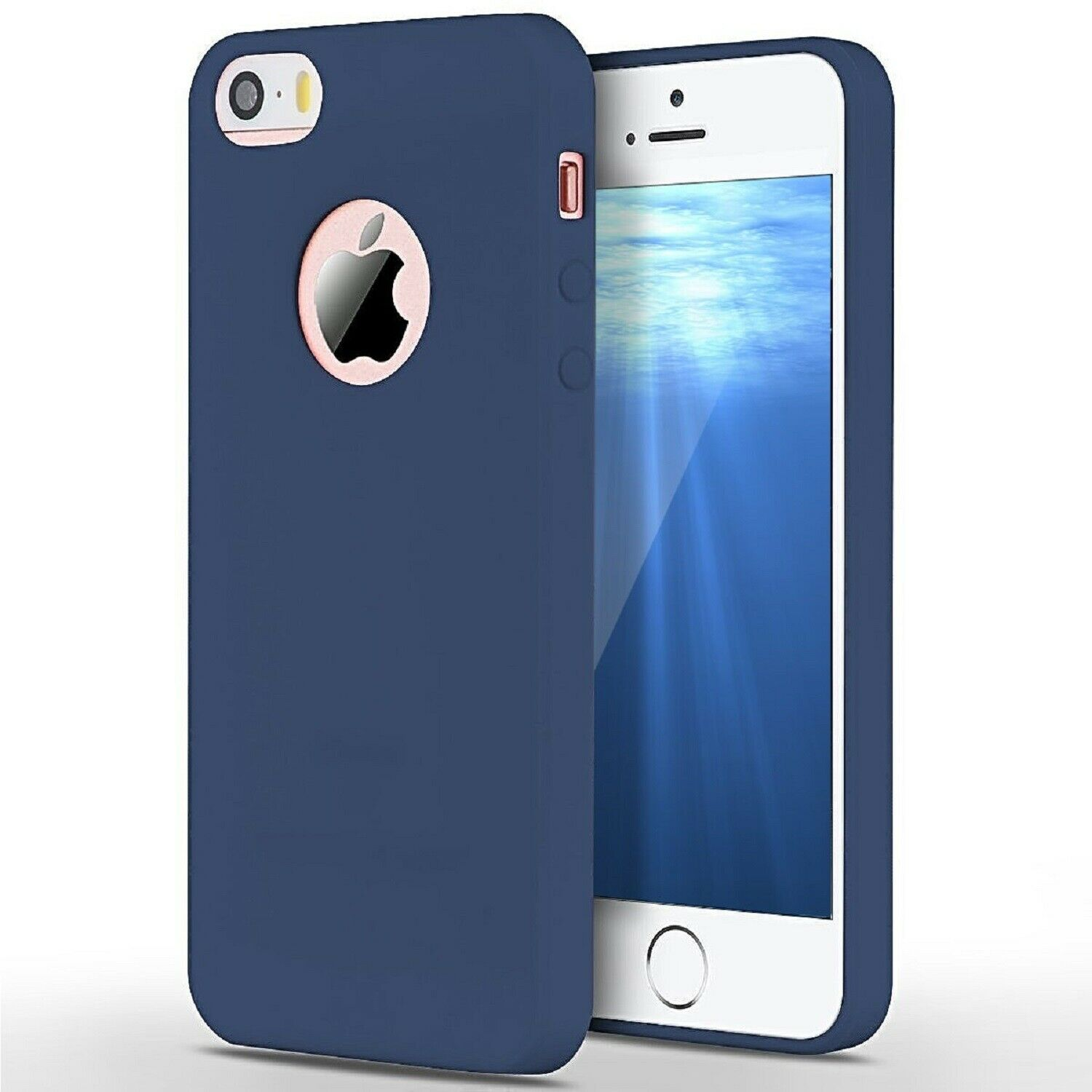Funda Carcasa Case Iphone Silicona Flexible Ultra Fina Tpu Suave Compatible con iphone X Azul Oscuro Agujero