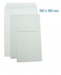 250 Sobres blancos 260x360 folio prolongado envios