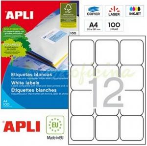 1200 etiquetas din a4 caja de 100 hojas apli impresoras envios pegatinas 02416