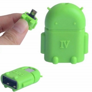 Adaptador OTG Robot Micro USB Android GO Tablet Movil Telefono Smartphone Verde