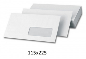 500 Sobres blancos 115x225 usa con ventana envios autoadhesivos
