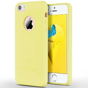 Funda Carcasa Case Iphone Silicona Flexible Ultra Fina Tpu Suave Compatible con iphone 6 / 6S  AMARILLO Agujero