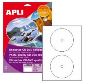 Paquete De 20 Etiquetas Para CD o DVD Diámetro exterior 117mm Interior 18mm