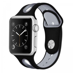 Correa Pulsera Compatible Apple Watch 38mm 40mm Series 4, Series 3, Series 2, Series 1 Silicona Blanda Deporte Spots Recambio Modelo Segun Fotografia Negro Gris
