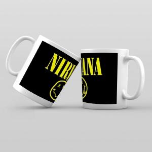 Taza De Desayuno Blanca Gran Calidad Modelo Dibujos Nirvana Grupo Musical Rock