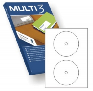 200 Etiquetas Adhesivas A4 Multi 3 de Diámetro interior 18 mm CD DVD 100 Hojas