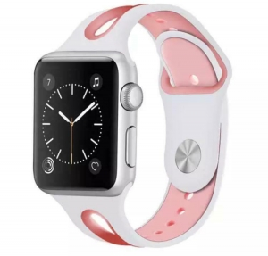 Correa Pulsera Compatible Apple Watch 38mm 40mm Series 4, Series 3, Series 2, Series 1 Silicona Blanda Deporte Spots Recambio Modelo Segun Fotografia Rosa Blanco