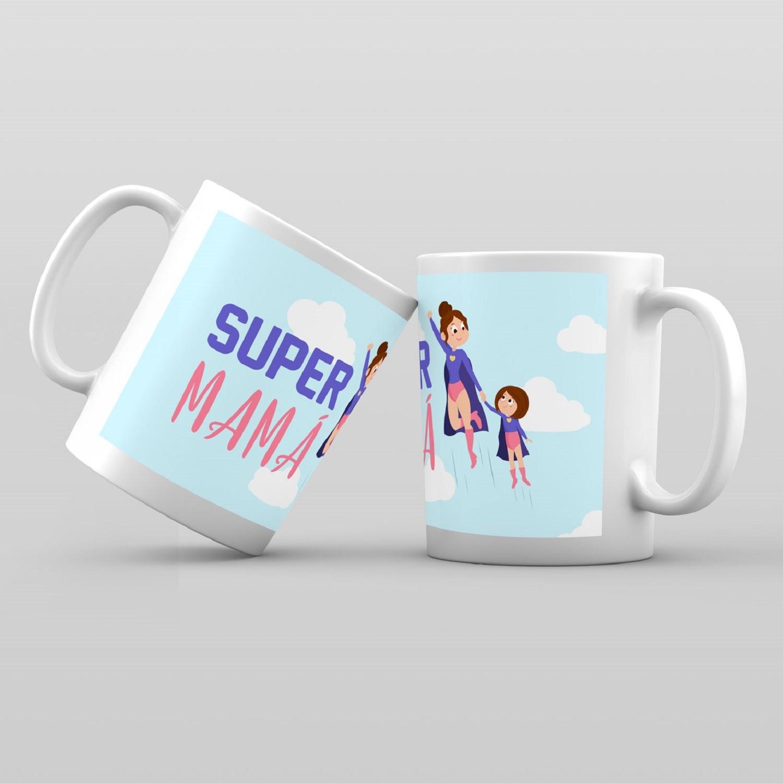 Taza De Desayuno Blanca Gran Calidad Modelo Dibujos Super Mama Regalo