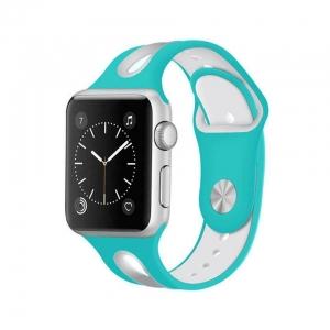 Correa Pulsera Compatible Apple Watch 38mm 40mm Series 4, Series 3, Series 2, Series 1 Silicona Blanda Deporte Spots Recambio Modelo Segun Fotografia Verde Azulado