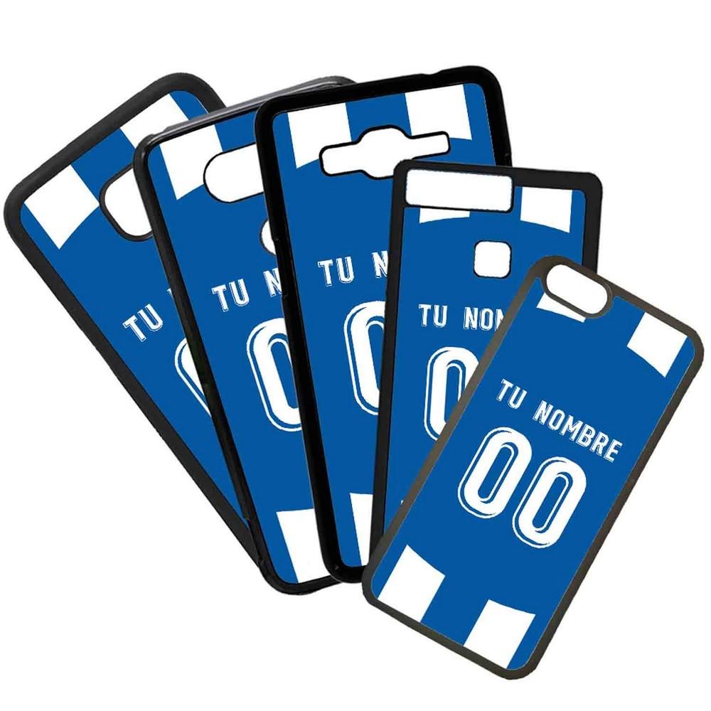 Funda de Movil Carcasa de Moviles Fundas Carcasas de TPU Compatible con el móvil Samsung Galaxy A8 Modelo Camiseta de Fútbol Espanyol Con El Nombre y Numero Que Quieras
