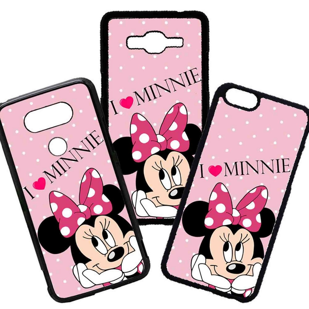 Funda de Movil Carcasa de Moviles Fundas Carcasas de TPU Compatible con el movil Iphone 7 Modelo Minnie Mouse Dibujos Sentada