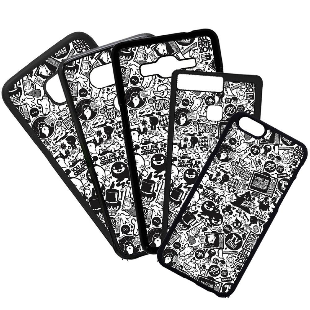 Fundas De Móviles Carcasas De Móvil De TPU Stickers Blanco Negro