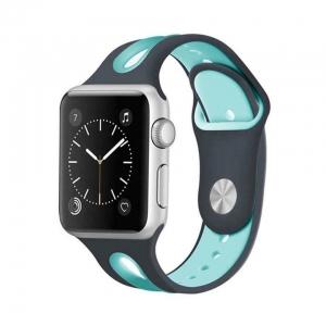 Correa Pulsera Compatible Apple Watch 38mm 40mm Series 4, Series 3, Series 2, Series 1 Silicona Blanda Deporte Spots Recambio Modelo Segun Fotografia Azul Oscuro Verde Azulado