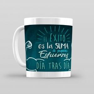 Taza De Desayuno Blanca Gran Calidad Modelo Frases El Éxito Es La Suma De Pequeños Esfuerzos Día a Día