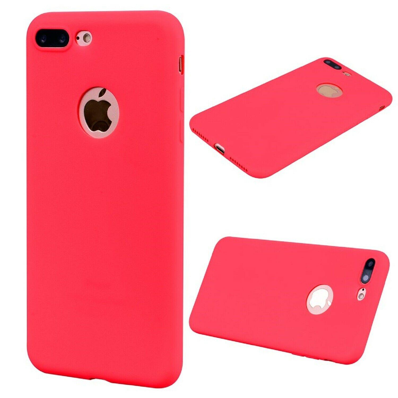 Funda Carcasa Case Iphone Silicona Flexible Ultra Fina Tpu Suave Compatible con iphone 8  Rojo Agujero