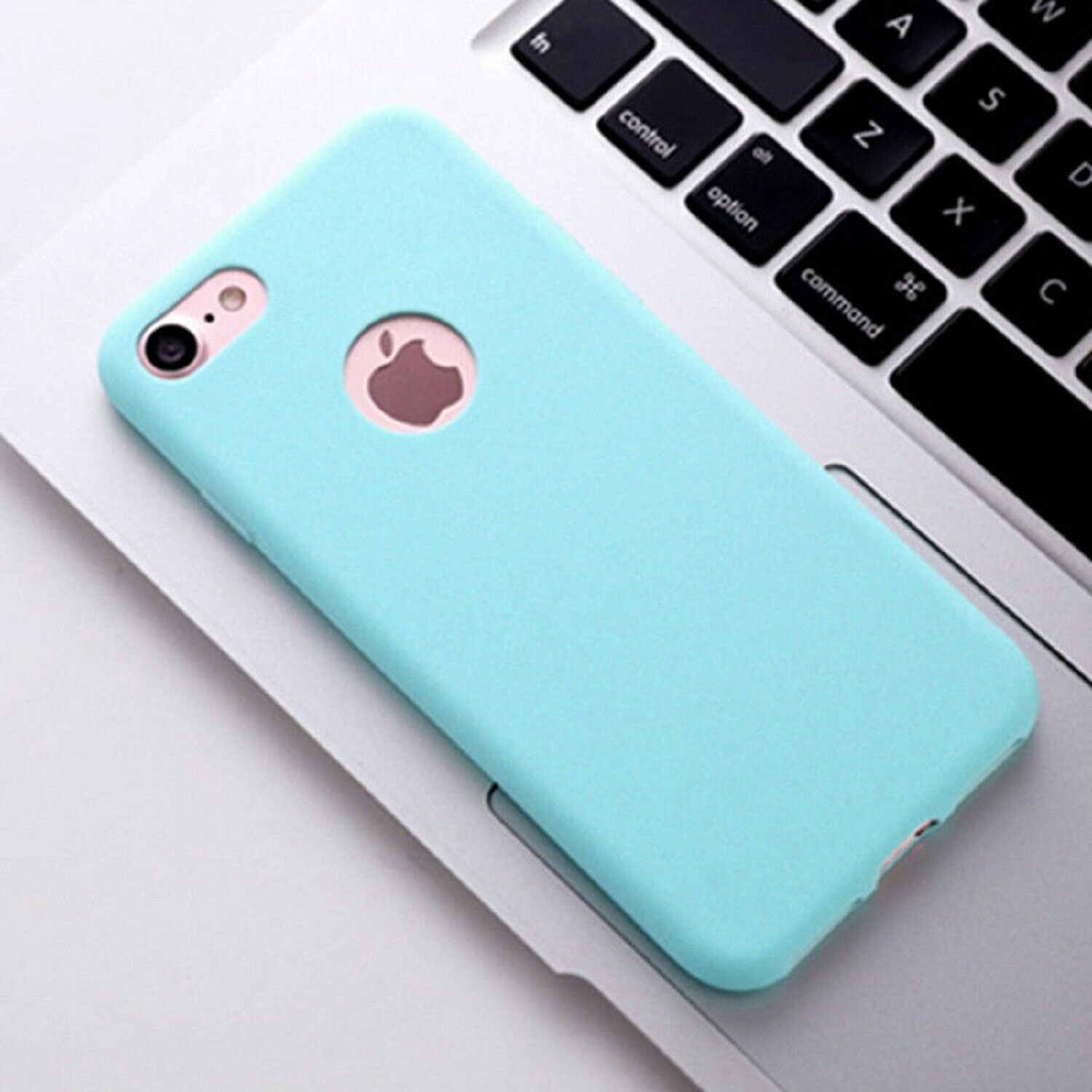 Funda Carcasa Case Iphone Silicona Flexible Ultra Fina Tpu Suave Compatible con iphone 8  Azul Claro Agujero