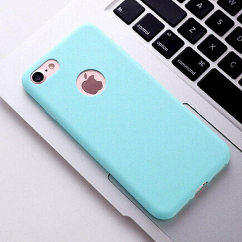 Funda Carcasa Case Iphone Silicona Flexible Ultra Fina Tpu Suave Compatible con iphone 8 PLUS Azul Claro Agujero