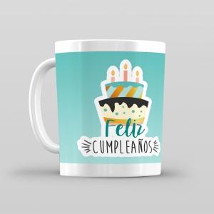 Taza De Desayuno Blanca Gran Calidad Modelo Dibujos Feliz Cumpleaños Regalo