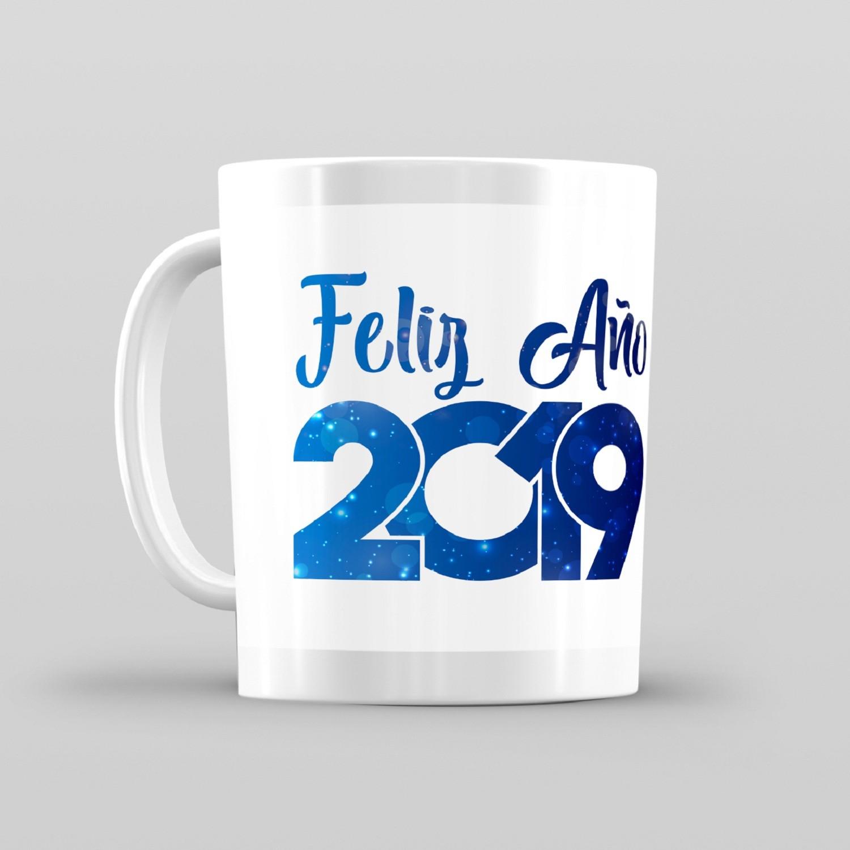 Taza De Desayuno Blanca Gran Calidad Modelo Dibujos Regalo Feliz Año Nuevo 2019
