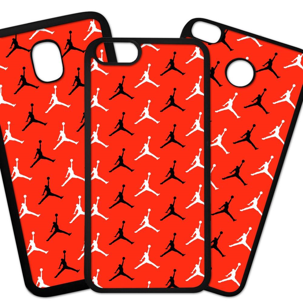 Carcasas De Móvil Fundas De Móviles De TPU Modelo Marca deporte air Jordan siluetas negra y blanca sobre fondo rojo