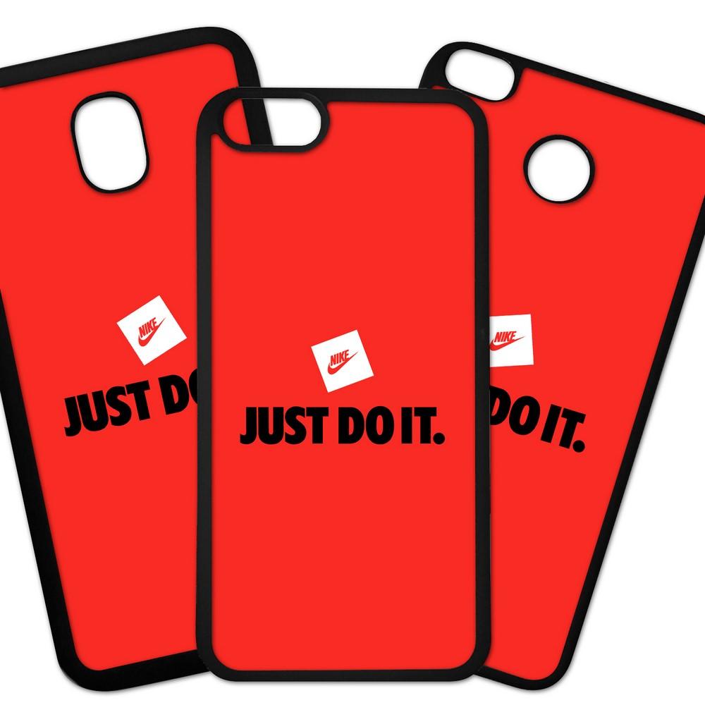 Carcasas De Móvil Fundas De Móviles De TPU Modelo Marca deporte Nike Logo JUST DO IT sobre fondo rojo