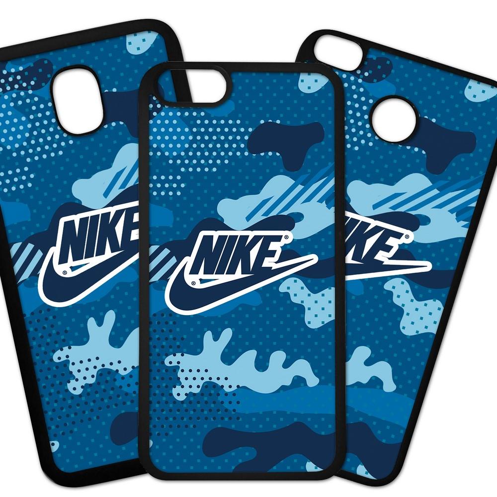 Carcasas De Móvil Fundas De Móviles De TPU Modelo Marca deporte Nike Logo sobre fondo camuflaje azul