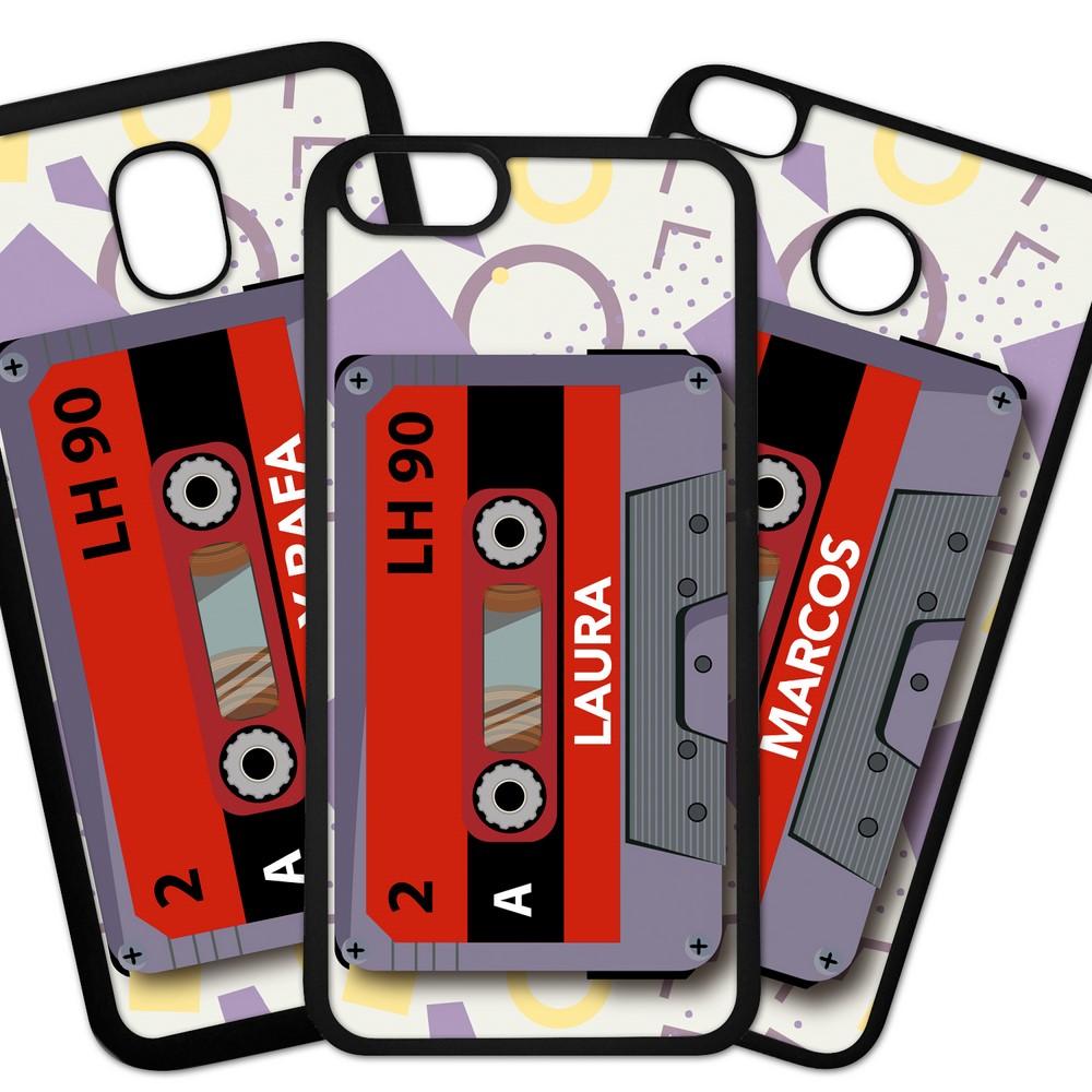 Carcasas De Móvil Fundas De Móviles De TPU Modelo Cinta de Cassettefondo colores .Personalizado Con El Nombre Que Quieras.