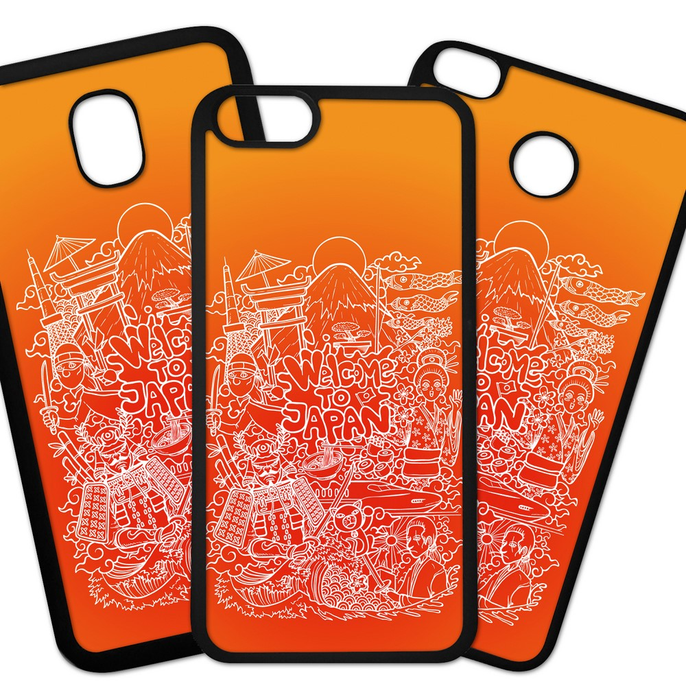 Carcasas De Móvil Fundas De Móviles De TPU Modelo Fondos colores dibujo originales Color naranja Japon